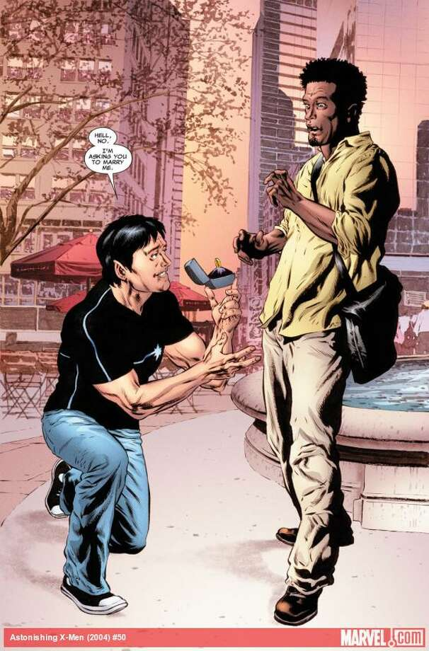 """""""When gay marriage became legal in New York State, it raised obvious questions since most of our heroes reside in New York State. Northstar is the first openly gay character in comics and he's been in a longterm relationship with his partner Kyle so the big question was   how would this change his relationship?,"""" says Marvel Comics editor-in-chief Axel Alonso. Photo: Marvel Entertainment"""