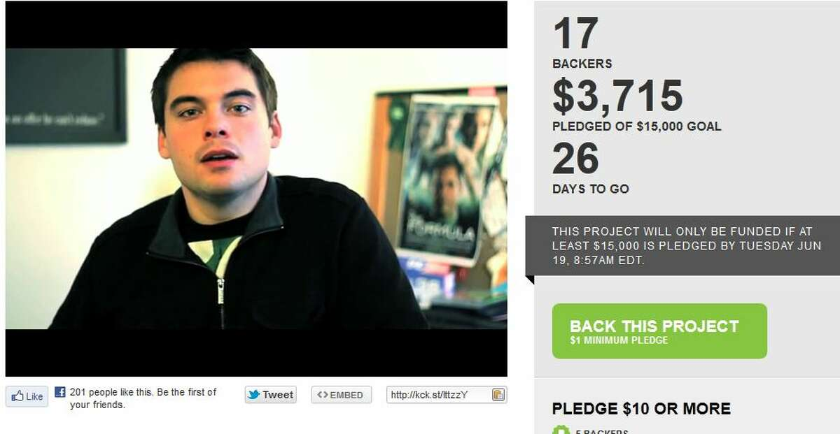 A screengrab from Justin Halstead's Kickstarter web page for