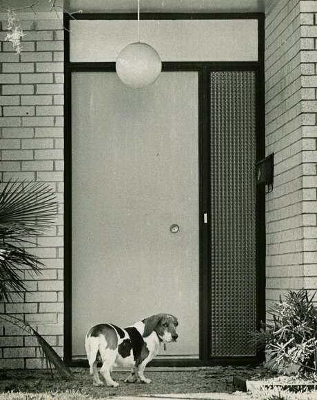 January 28, 1967: Sam, the basset hound belonging to astronaut Virgil (Gus) Grissom's family, waited to be let in the house. The day before, Apollo 1 Commander Grissom had  died with his crew - Ed White and Roger Chaffee - in a fire in the  Apollo Command Module during a preflight test at Cape Canaveral. Photo: World Book Encyclopedia