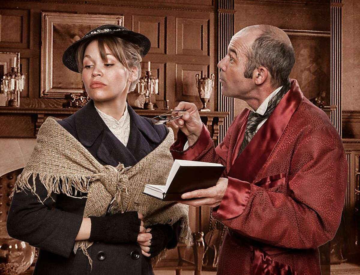 """Ginny Wehrmeister as Eliza Doolittle and Clive Worsley as Henry Higgins in Town Hall Theatre's """"Pygmalion"""""""