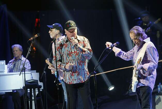 Original members of The Beach Boys, from left, Brian Wilson, David Marks, Mike Love and Al Jardine perform together during a concert at the Beacon Theater, Tuesday, May 8 , 2012, in New York. (AP Photo/Jason DeCrow) Photo: Jason DeCrow, Associated Press