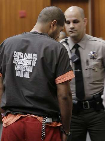 Antolin Garcia-Torres is escorted from a Santa Clara County courtroom in San Jose, Calif., for his first court appearance Thursday, May 24, 2012. He is accused of the kidnapping and murder of 15-year-old Sierra Lamar in Morgan Hill, Calif. She was last seen on March 16, 2012. (AP Photo/Paul Sakuma) Photo: Paul Sakuma, Associated Press
