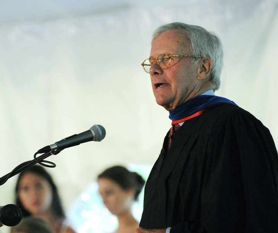 Journalist Tom Brokaw was the featured speaker at the Greenwich Academy Graduation at the main campus in Greenwich, Thursday, May 24, 2012. Photo: Bob Luckey / Greenwich Time
