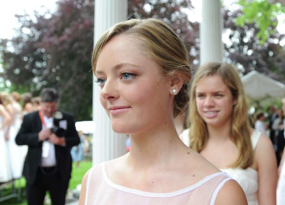 Greenwich Academy graduating senior Audrey Grace Keller, 18, of Bedford, N.Y., during the Greenwich Academy Graduation at the main campus in Greenwich, Thursday, May 24, 2012. Photo: Bob Luckey / Greenwich Time