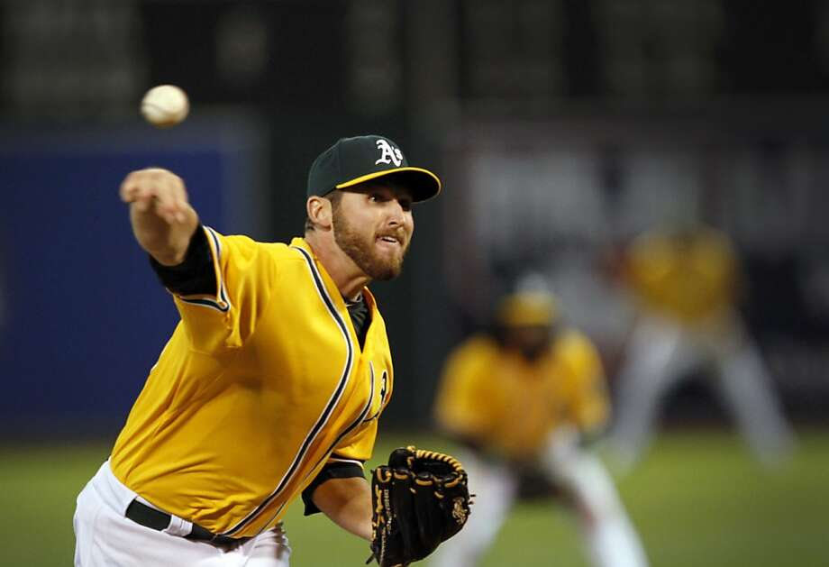 Oakland A's pitcher Ryan Cook throws one in during their game against the Blue Jays in Oakland, Calif., Tuesday, May 8, 2012. Photo: Sarah Rice, Special To The Chronicle
