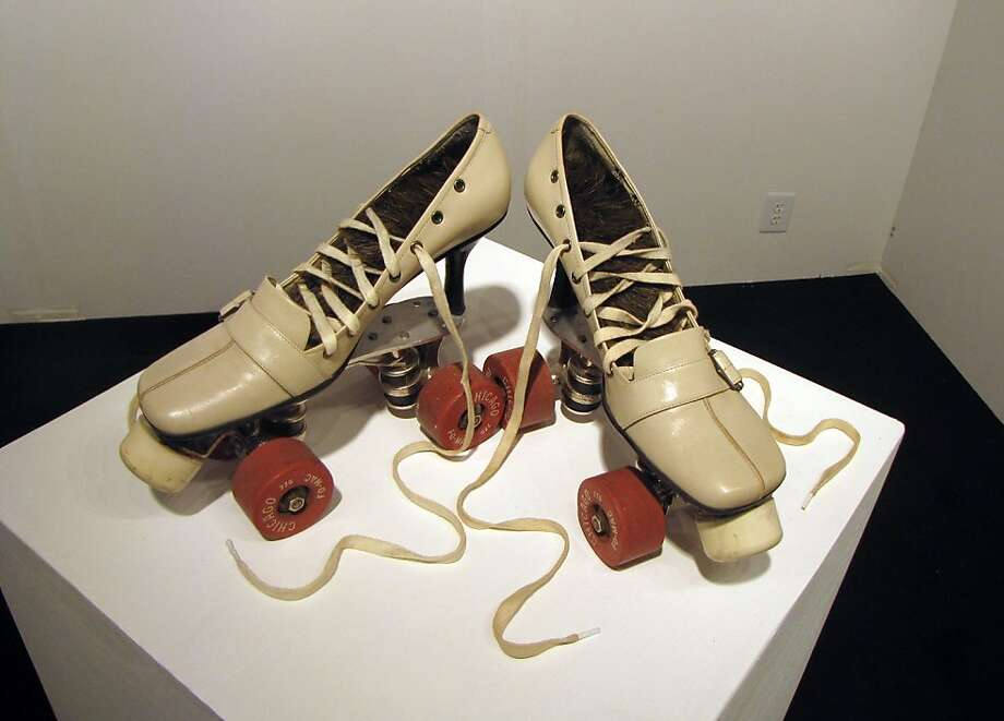 "Ron Ulicny's ""Skates No. 2 (Well Aren't You a Big Girl Now)"" is on display at the Spoke Art Kiosk at ArtMRKT San Francisco on May 17, 2012. Photo: Matt Petty, San Francisco Chronicle"