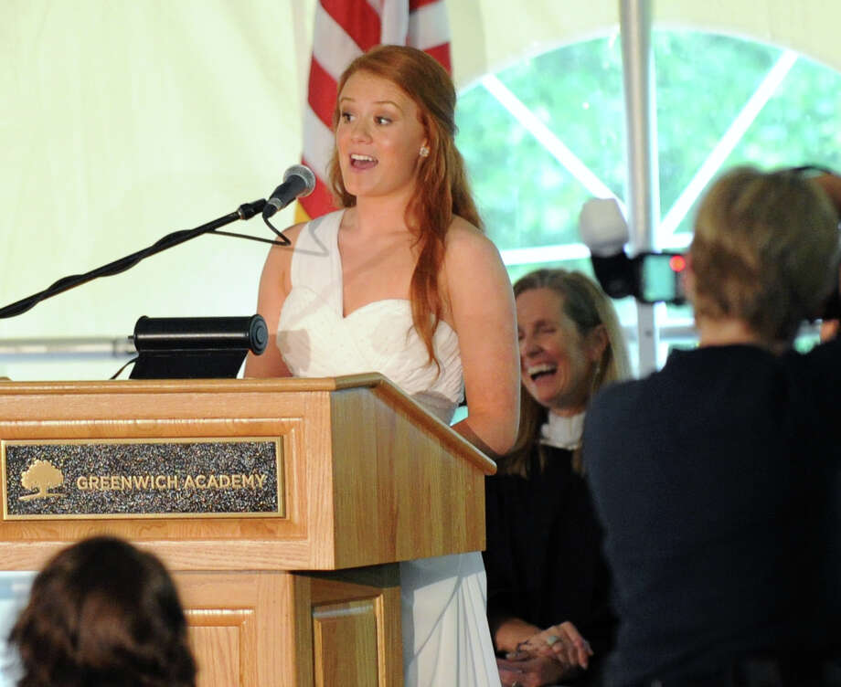 Caroline Johnson was the senior class speaker during the Greenwich Academy Graduation at the main campus in Greenwich, Thursday, May 24, 2012. Photo: Bob Luckey / Greenwich Time