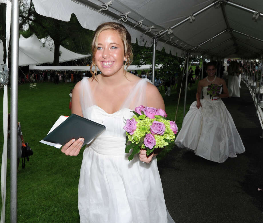 Kelly McFall, 18, of Darien, at the conclusion of the Greenwich Academy Graduation at the main campus in Greenwich, Thursday, May 24, 2012. Photo: Bob Luckey / Greenwich Time