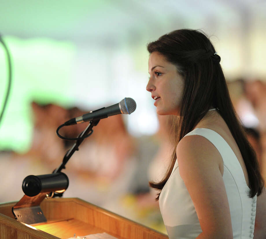 Valedictorian Claire Blumenthal of Greenwich during the Greenwich Academy Graduation at the main campus in Greenwich, Thursday, May 24, 2012. Photo: Bob Luckey / Greenwich Time