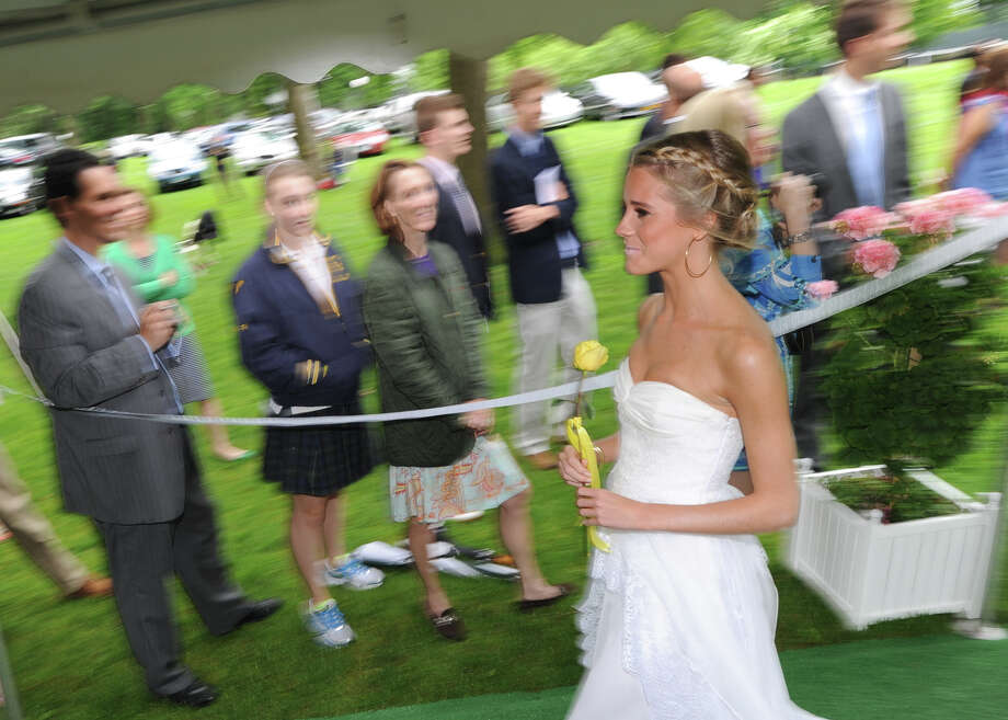 Cassidy Gifford, 18, of Greenwich, during the Greenwich Academy Graduation at the main campus in Greenwich, Thursday, May 24, 2012. Photo: Bob Luckey / Greenwich Time