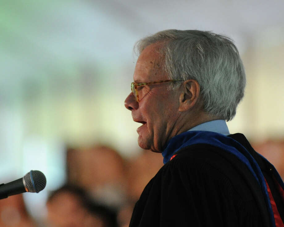Journalist Tom Brokaw spoke during the Greenwich Academy Graduation at the main campus in Greenwich, Thursday, May 24, 2012. Photo: Bob Luckey / Greenwich Time