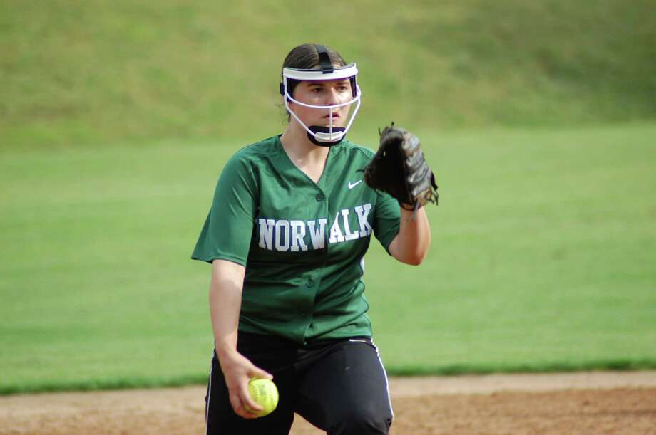 Norwalk right-hander Patti Sciglimpaglia pitches in the Bears' 4-2 win over Fairfield Ludlowe in the FCIAC softball quarterfinals on Thursday May 24, 2012 at Ray Barry Field in Norwalk. Photo: Doug Bonjour