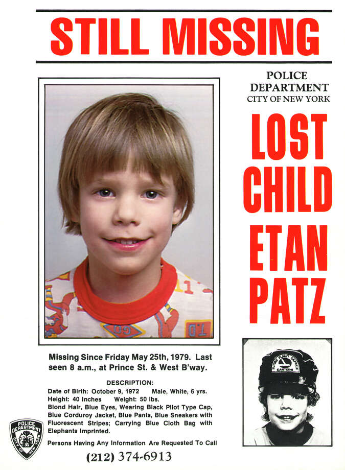 This undated file image provided Friday, May 28, 2010 by Stanley K. Patz shows a flyer distributed by the New York Police Department of Patz's son Etan who vanished in New York on May 25, 1979. New York City police commissioner Raymond Kelly said Thursday  May 24, 2010, that a person who's in custody has implicated himself in the disappearance and death of Etan Patz, (AP Photo/Courtesy NYPD/file)  EDITORIAL USE ONLY, NO SALES, FOR USE ONLY IN ILLUSTRATING EDITORIAL STORIES REGARDING THE DISAPPEARANCE OF ETAN PATZ OR OTHER MISSING CHILDREN Photo: Anonymous / AP2010