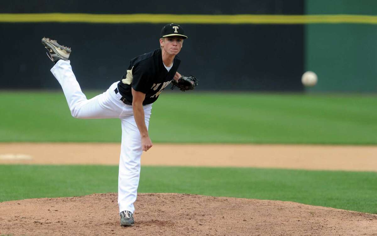 Trumbull's Gerard Spiegel pitches to Staples High School during the FCIAC baseball semifinals Thursday, May 24, 2012 at the Ballpark at Harbor Yard in Bridgeport, Conn.