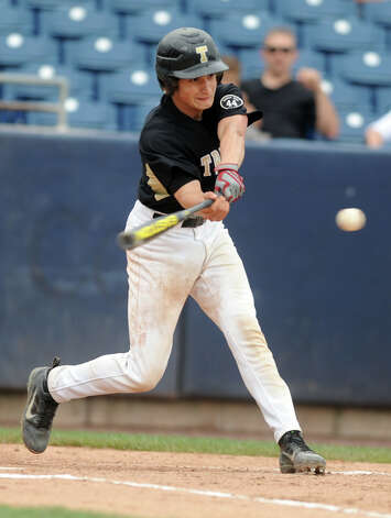 Trumbull's James DeNomme gets a hit during the FCIAC baseball semifinal against Staples High School Thursday, May 24, 2012 at the Ballpark at Harbor Yard in Bridgeport, Conn. Photo: Autumn Driscoll / Connecticut Post