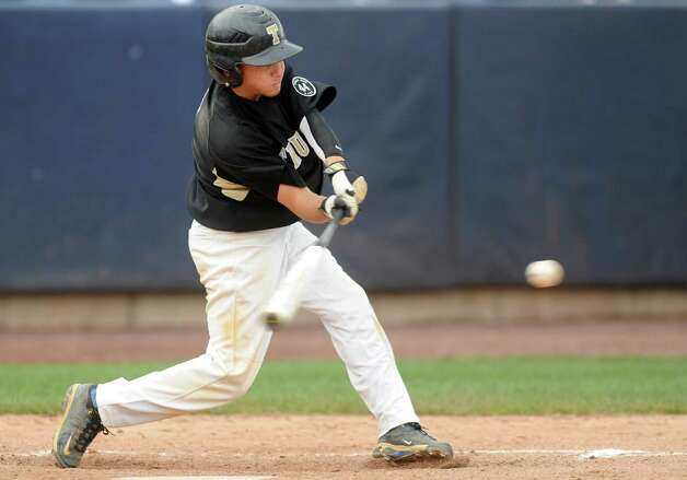 Trumbull's Brandon Liscinsky gets a hit during the FCIAC baseball semifinal against Staples High School Thursday, May 24, 2012 at the Ballpark at Harbor Yard in Bridgeport, Conn. Photo: Autumn Driscoll / Connecticut Post