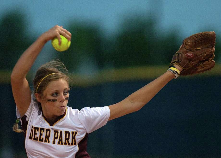 Deer Park pitcher Caitlin Plocheck delivers a pitch to the Pearland Lady Oilers during the opening game of a best-of-3 series of the Region III - 5A Finals at Manvel High School Thursday, May 24, 2012, in Manvel. Deer Park won 1-0. Photo: Cody Duty, Houston Chronicle / © 2011 Houston Chronicle
