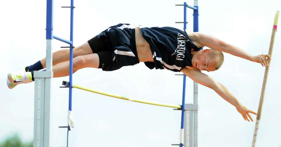 Saratoga's Thomas Conboy clears 10 feet when he pole vaults during the Section II boys track meet on