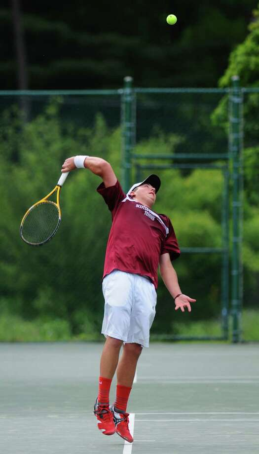 Scotia-Glenville's Rob Schmitz hits a serve during his Section II tournament semifinal victory  over Glens Falls Mitch Burhoe on Thursday May 24, 2012 in Schenectady, NY.  (Philip Kamrass / Times Union ) Photo: Philip Kamrass / 00017800A