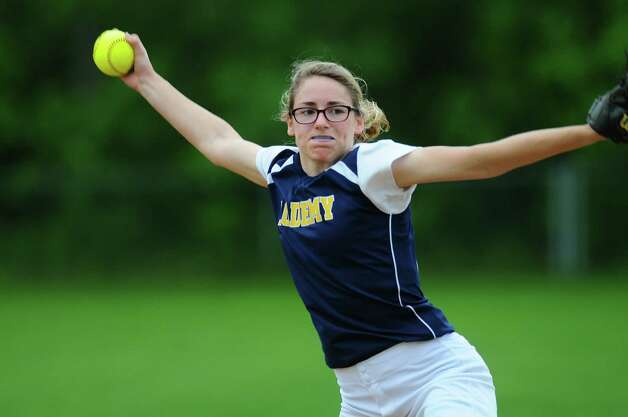 Albany Academy for Girls Becca Smith delivers a pitch during a scrimmage against Loudonville Christian on Monday May 21, 2012 in Albany, NY.    (Philip Kamrass / Times Union ) Photo: Philip Kamrass / 00017759A