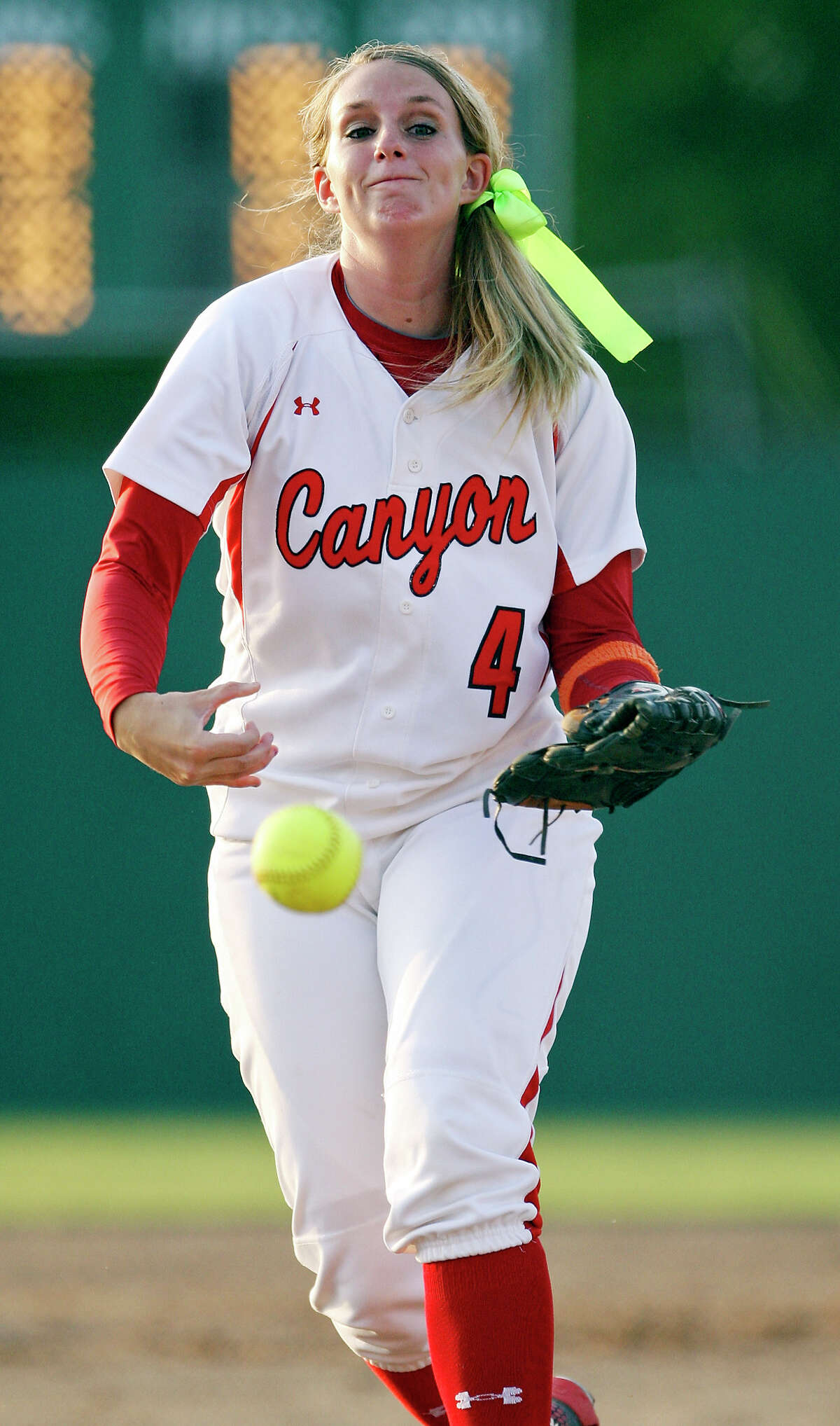 New Braunfels Canyon's Marilee Burge pitches againt Smithson Valley during their Region IV-4A final softball game Thursday, May 24, 2012 at NEISD Softball Complex. Smithson Valley won 7-5.