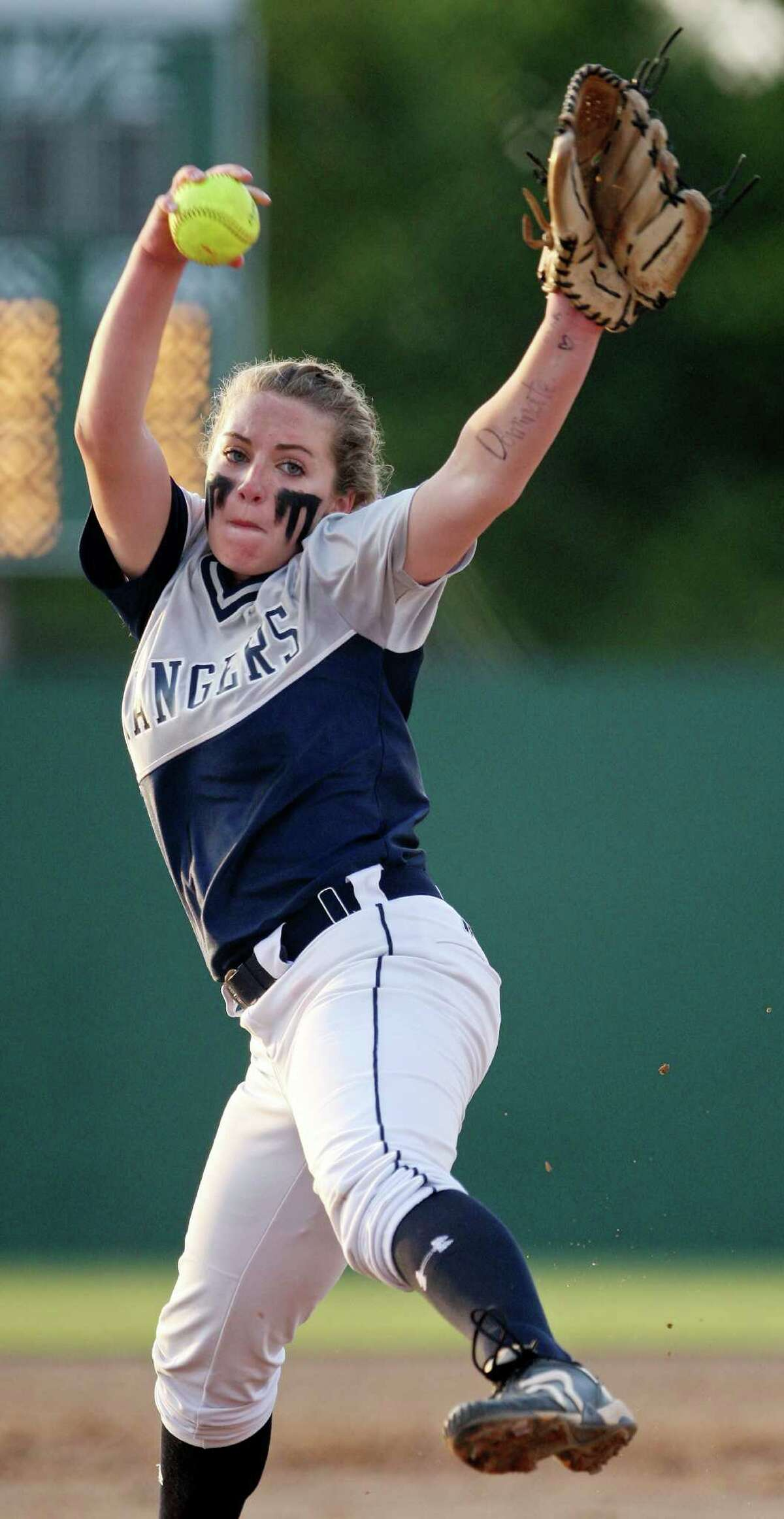Smithson Valley's Regan Mergele pitches against New Braunfels Canyon during their Region IV-4A final softball game Thursday, May 24, 2012 at NEISD Softball Complex. Smithson Valley won 7-5.