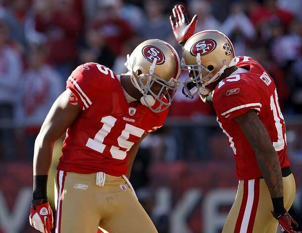 San Francisco 49ers Michael Crabtree celebrates with Ted Ginn Jr. as they defeat the St. Louis Rams, Sunday Dec. 4, 2011, 26-0, at Candlestick Park in San Francisco, Calif. Photo: Lacy Atkins, The Chronicle