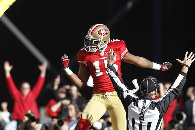 MIchael Crabtree celebrates his first quarter touchdown. The San Francisco 49ers played the New Orleans Saints in the NFC Divisional playoff game at Candlestick Park in San Francisco, Calif., on Saturday, January 14, 2012. Photo: Brant Ward, The Chronicle
