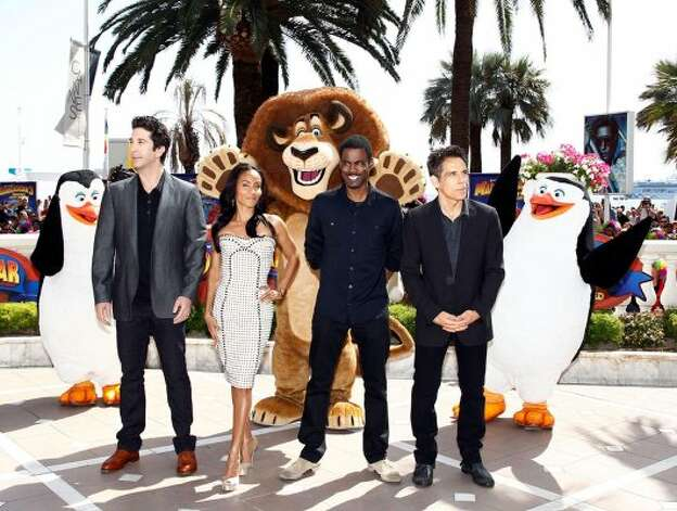 "Where the wild things are: Actors David Schwimmer, Jada Pinkett Smith, Chris Rock and Ben Stiller attend the ""Madagascar 3"" photocall during the 65th Annual Cannes Film Festival. (Andreas Rentz / Get"