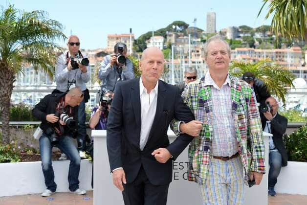 "Best buds: Bruce Willis (L) and Bill Murray pose during the photocall of ""Moonrise Kingdom."" (AFP/Getty Images) / AL"