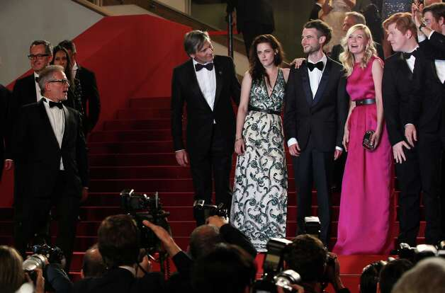 From left, actors Viggo Mortensen, Kristen Stewart, Tom Sturridge, Kirsten Dunst, Danny Morgan and Garret Hedlund depart following the screening of On the Road at the 65th international film festival