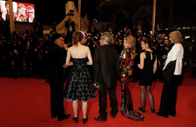 From left, actors Denis Lavant, Elise Lhomeau, director Leos Carax, actress Kylie Minogue, Jeanne Disson and Edith Scob arrive for the screening of Holy Motors at the 65th international film festival