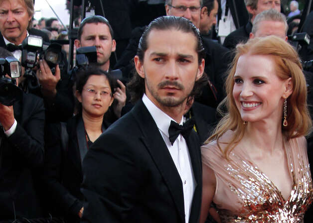 Actors Shia LaBeouf, left, and Jessica Chastain arrive for the screening of Lawless at the 65th international film festival, in Cannes, southern France, Saturday, May 19, 2012. Photo: Joel Ryan, AP /