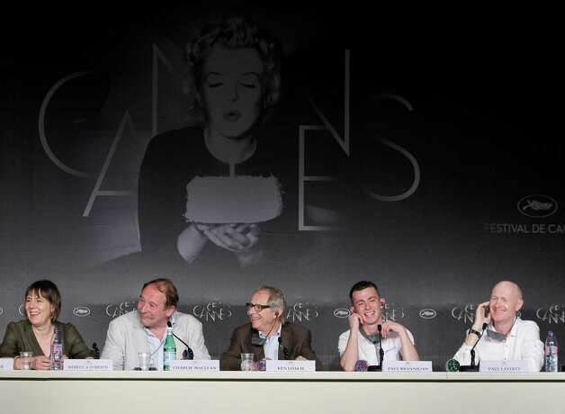 From left, Rebecca O'Brien, actor Charlie Maclean, director Ken Loach, actor Paul Brannigan, and screenwriter Paul Laverty attend a press conference for The Angel's Share at the 65th international fi