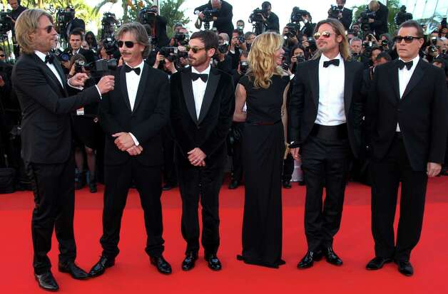 From left, director Andrew Dominik, actors Ben Mendelsohn, Scoot McNairy, Dede Gardner, Brad Pitt and Ray Liotta arrive for the screening of Killing Them Softly at the 65th international film festiva