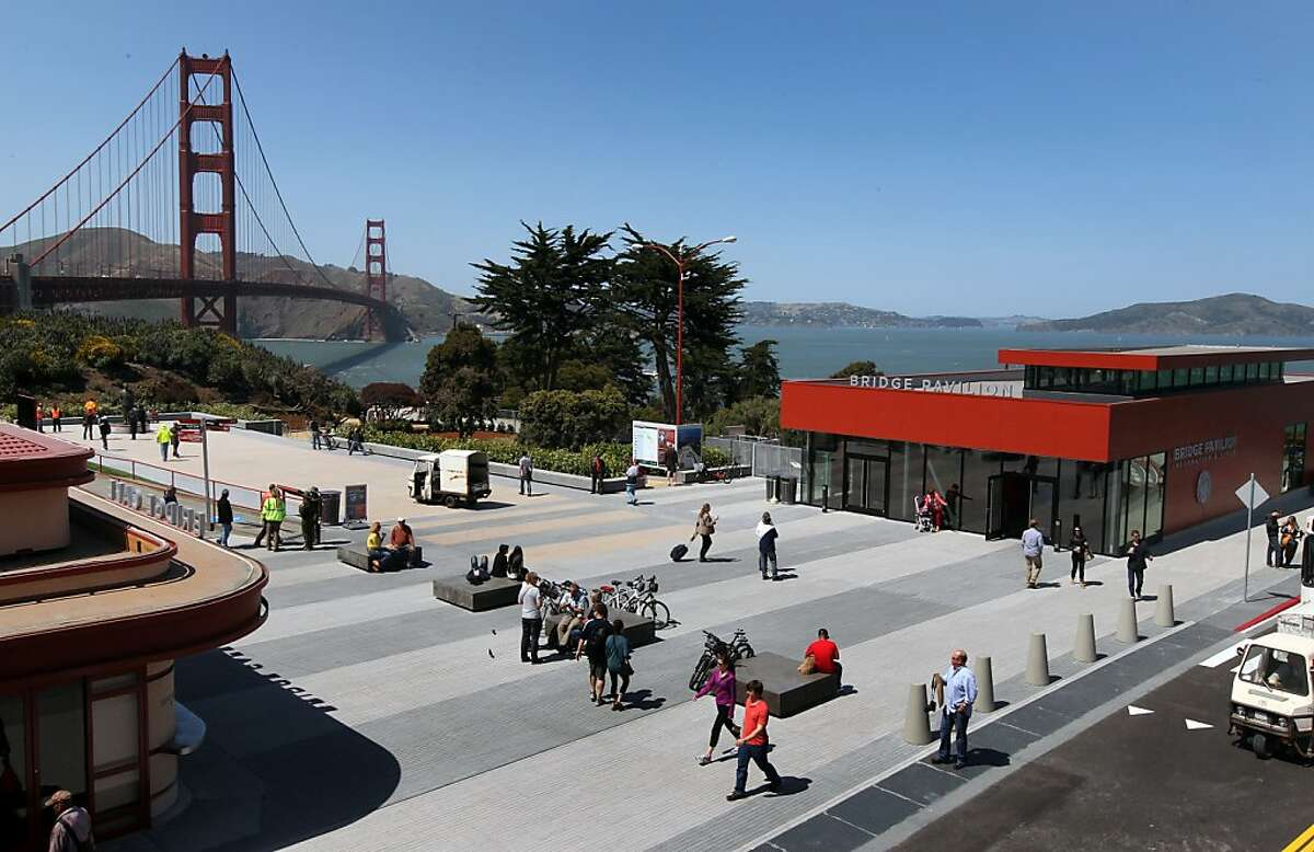 The Golden Gate Bridge, Pavilion and plaza have recently opened after an extensive remolding project was completed. The project also offers new vista outlooks and walking and bike paths Thursday, May 24, 2012 in San Francisco Calif.