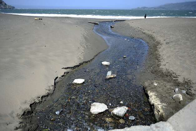 A small creek empties into the bay at Baker Beach.  Heal the Bay released it's annual report on California beaches and water quality at Baker Beach in San Francisco Thursday May 24th, 2012 Photo: Michael Short