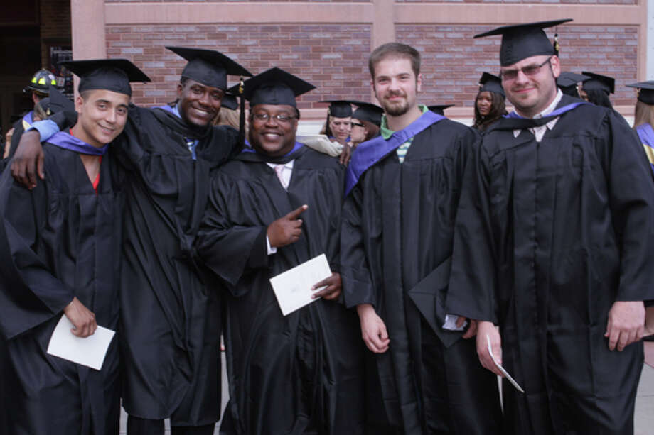 SCCC grads were all smiles before the college's 42nd Commencement on May 24, 2012, at Proctors. Left to right are James Romand, David Fyall, Darryle Clarke, Kevin Cicchinelli and Christopher Taft, all Culinary Arts A.O.S. grads. (Steve Whitney/SCCC) Photo: Steve Whitney