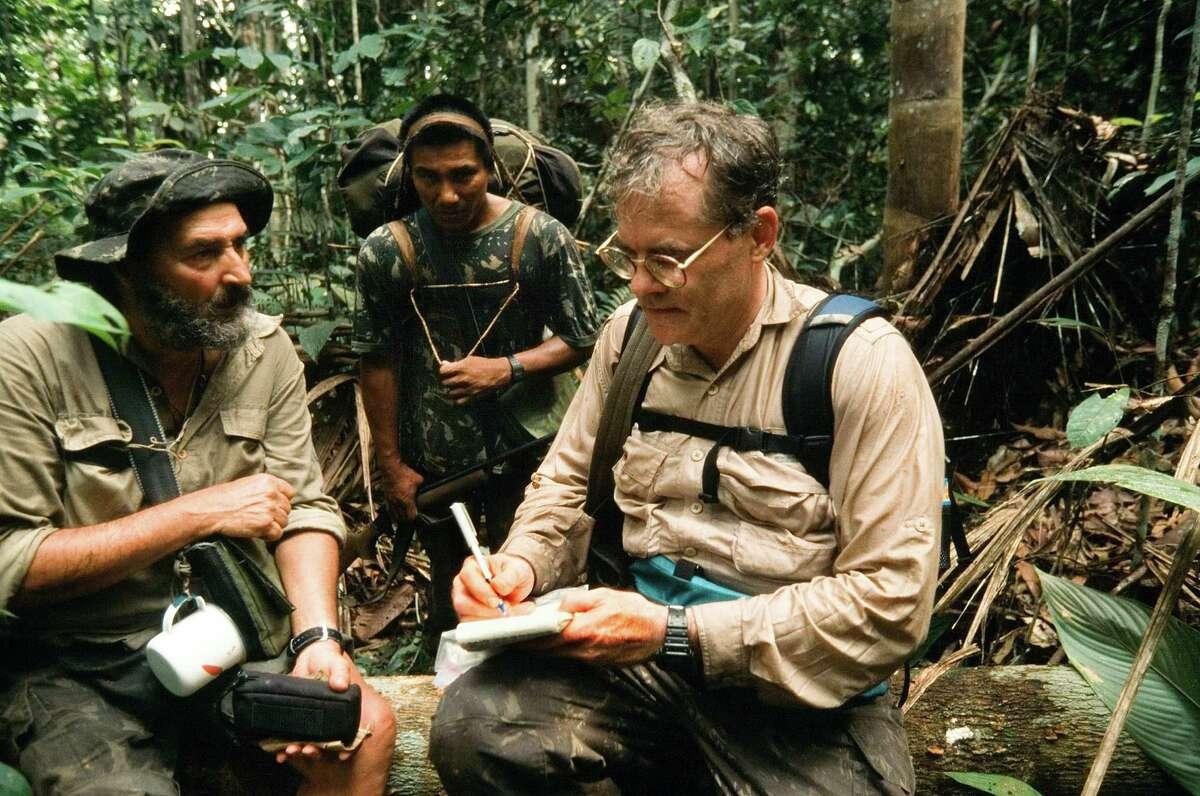 Journalist Scott Wallace interviewing Sydney Possuelo. (Courtesy of Scott Wallace)
