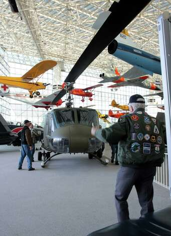The Seattle Museum of Fight's 1970 Bell UH-1H 'Huey'  helicopter is shown in the museum's main hall on May 25, 2012. Photo: Ted Huetter / The Museum of Flight, Seattle