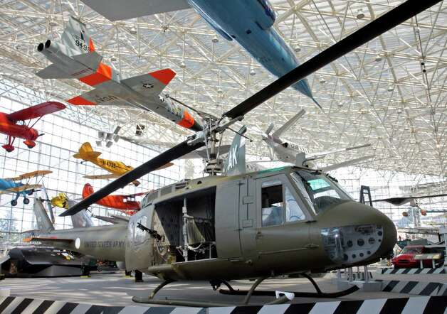 The Seattle Museum of Flight's 1970 Bell UH-1H 'Huey' helicopter is shown in its new display site on May 25, 2012. Photo: Ted Huetter / The Museum of Flight, Seattle