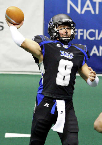 FOR SPORTS - San Antonio Talons' Aaron Garcia passes against the Chicago Rush during first half action Saturday April 28, 2012 at the Alamodome. Photo: EDWARD A. ORNELAS, SAN ANTONIO EXPRESS-NEWS / © SAN ANTONIO EXPRESS-NEWS (NFS)
