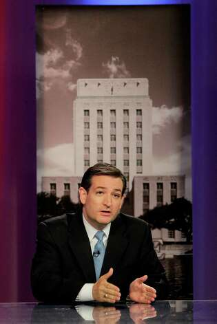 U.S. Senate candidate Republican Ted Cruz participates in a live debate held in the LeRoy and Lucile Melcher Center for Public Broadcasting at the University of Houston on Thursday, May 3, 2012, in Houston. (AP Photo/Houston Chronicle, Mayra Beltran) Photo: Chron, MBO / © 2012 Houston Chronicle