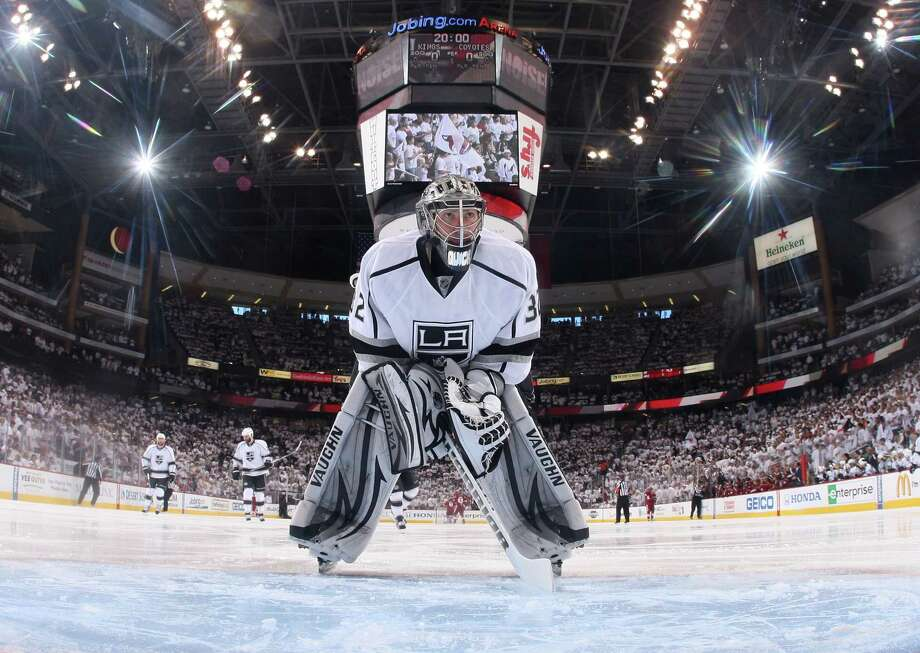 GLENDALE, AZ - MAY 13:  Goaltender Jonathan Quick #32 of the Los Angeles Kings looks on prior to Game One of the Western Conference Finals against the Phoenix Coyotes during the 2012 NHL Stanley Cup Playoffs at Jobing.com Arena on May 13, 2012 in Glendale, Arizona. The Kings defeated the Coyotes 4-2.  (Photo by Christian Petersen/Getty Images) Photo: Christian Petersen, Getty Images / 2012 Getty Images