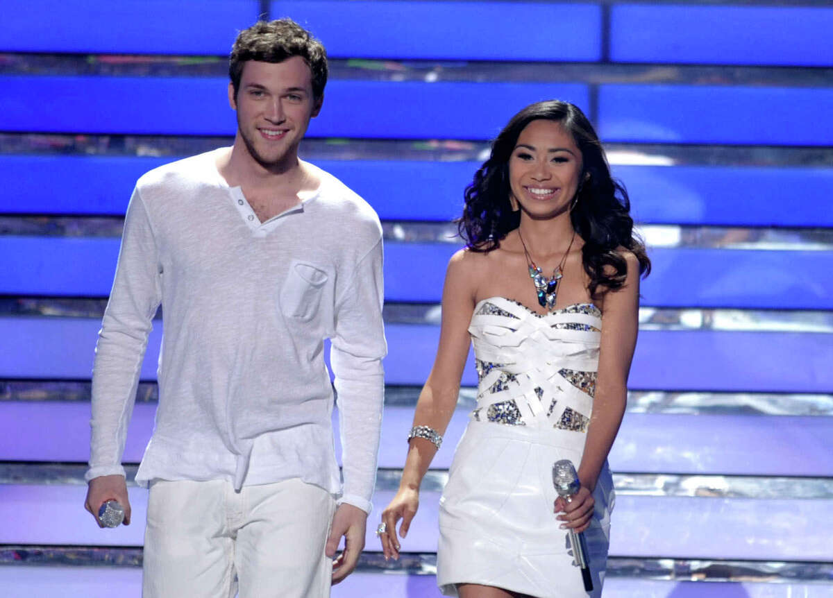 FILE - In this May 23, 2012 file photo, finalists Phillip Phillips, left, and Jessica Sanchez appear onstage at the