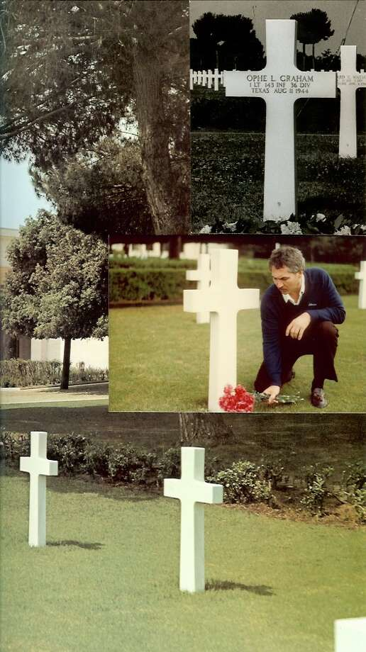 Geren Graham traveled 5,700 miles from Houston to an Italian coastal town near Anzio to pay his respects to First Lt. Ophe Lee Graham, the father he had never met. Ophe Lee Graham lost his life at Salerno, Italy, in August 1944, when Geren Graham was six months old.