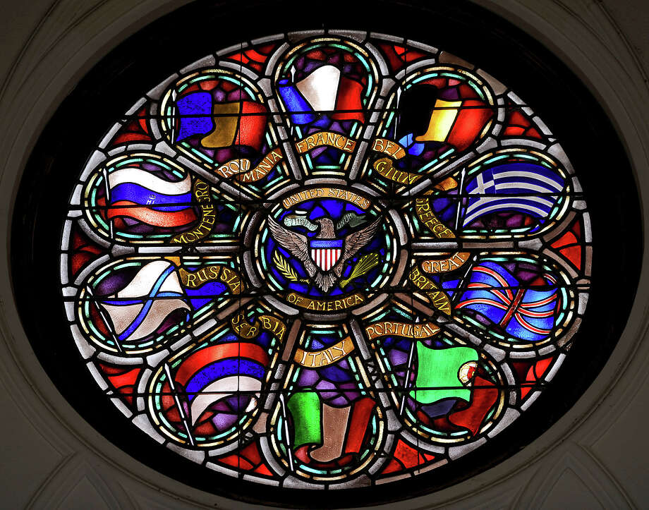 One of eight stained glass window at the Temple to the Brave. The Temple will be open to the public on Memorial day. Photo taken Thursday, May 24, 2012 Guiseppe Barranco/The Enterprise Photo: Guiseppe Barranco, STAFF PHOTOGRAPHER / The Beaumont Enterprise