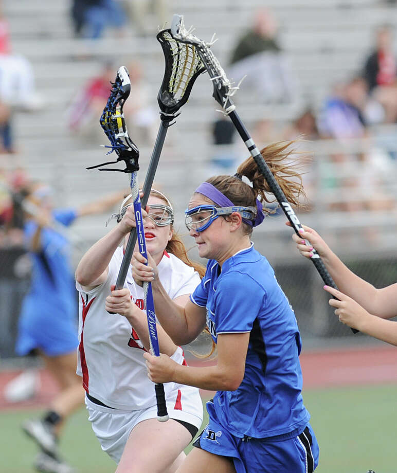 FCIAC girls lacrosse finals between Greenwich High School and Darien High School at Brien McMahon High School in Norwalk, Friday, May 25, 2012. Darien won the championship over Greenwich 17-14. Photo: Bob Luckey / Greenwich Time