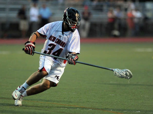 Friday's FCIAC boys lacrosse championship game between New Canaan and Ridgefield at Brien McMahon High School in Norwalk on May 25, 2012. Photo: Lindsay Niegelberg / Stamford Advocate