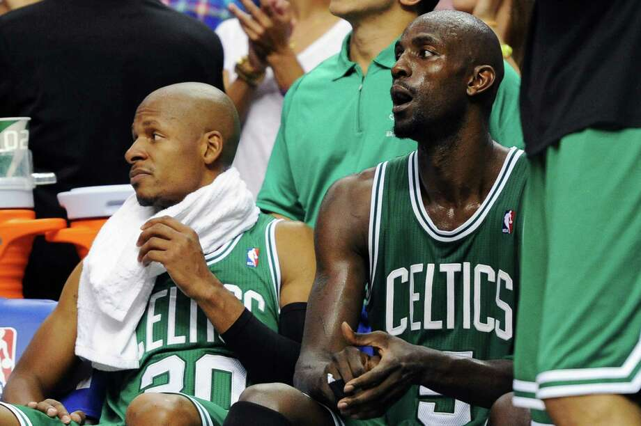 Veterans Ray Allen, left, and Kevin Garnett have been key pieces for the Celtics, but both will be free agents after the season. Photo: Drew Hallowell / 2012 Getty Images
